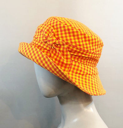 Orange check sun hat