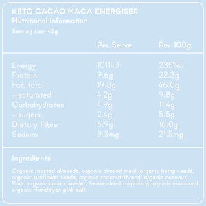 KETO CACAO ENERGISER Superfood Breakfast Pouches