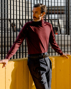Maroon Merino Roll Neck