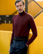 Load image into Gallery viewer, Maroon Merino Roll Neck