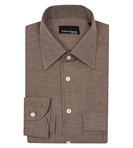 Taupe brushed cotton overshirt