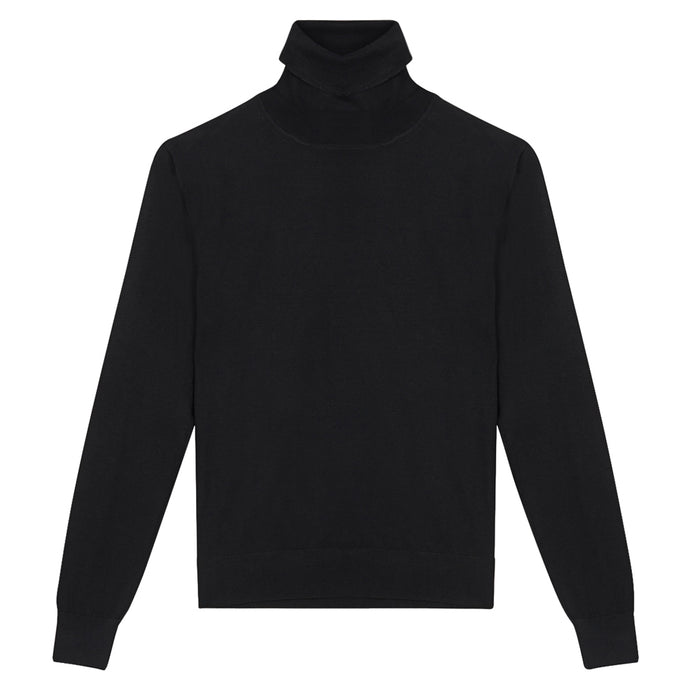 Black Cashmere Roll Neck