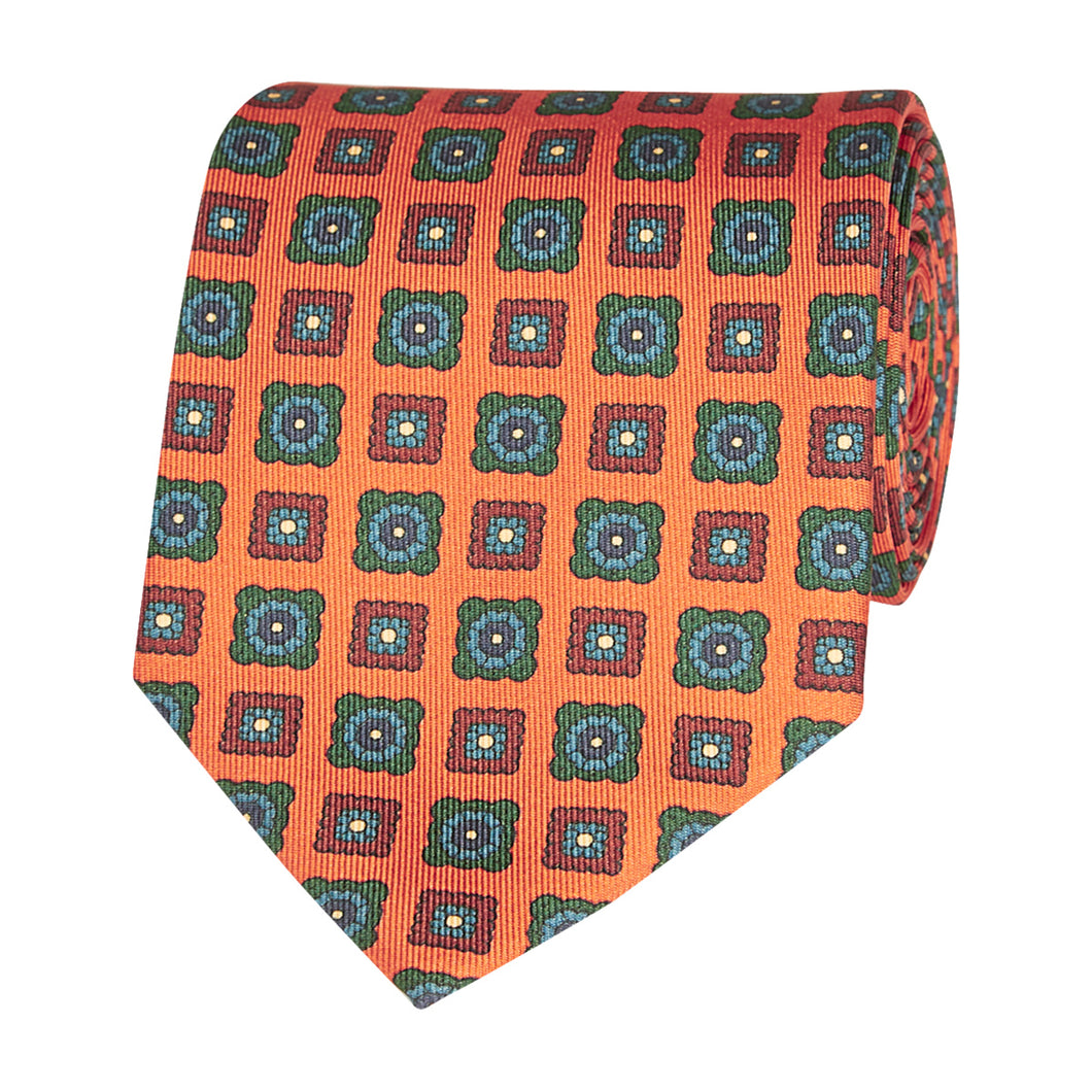 Burnt Orange Floral Geometric Tie