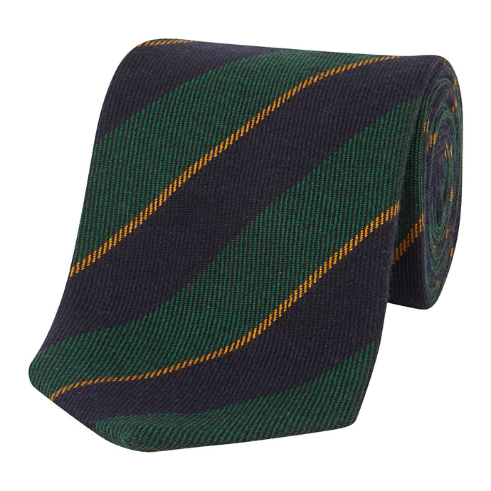 Green, Midnight and Gold Stripe Tie