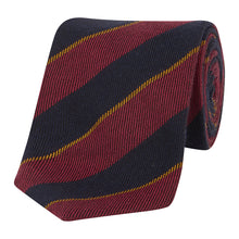 Load image into Gallery viewer, Red, Midnight and Gold Stripe Tie