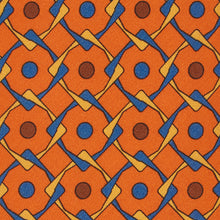 Load image into Gallery viewer, Orange Geometric Silk Tie