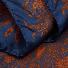 Load image into Gallery viewer, Navy and Burnt Orange Paisley Hankie