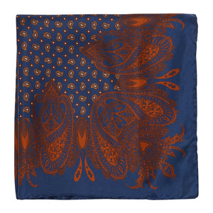 Navy and Burnt Orange Paisley Hankie