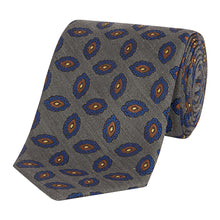 Load image into Gallery viewer, Silver and Chocolate Paisley Tie