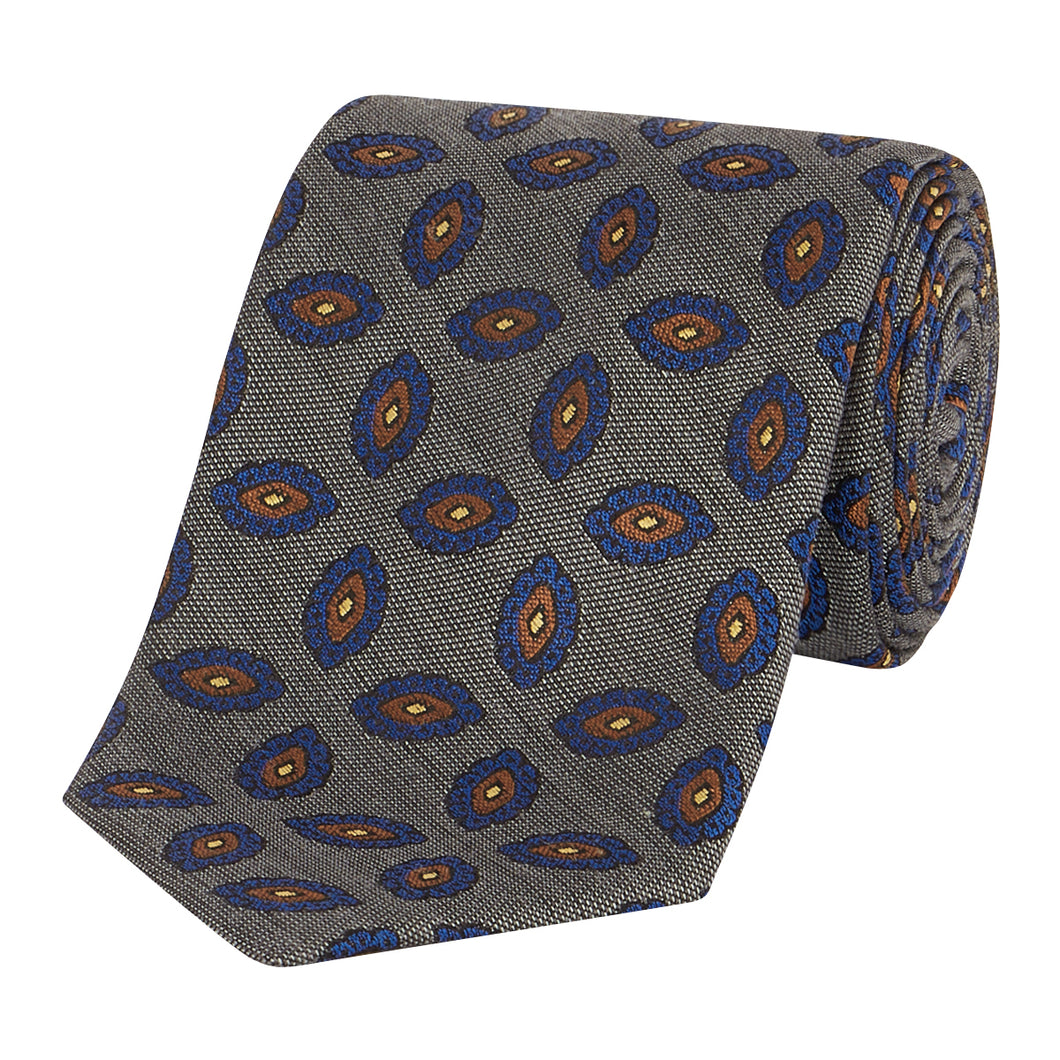 Silver and Chocolate Paisley Tie