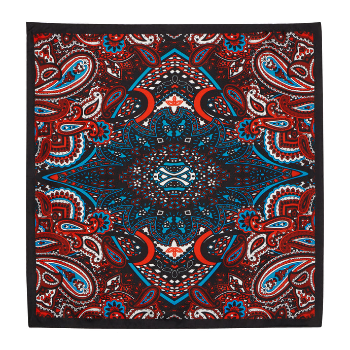 Midnight, Cherry and Blue Paisley Hankie