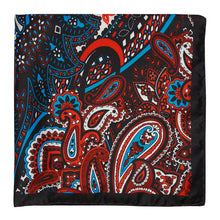 Load image into Gallery viewer, Midnight, Cherry and Blue Paisley Hankie