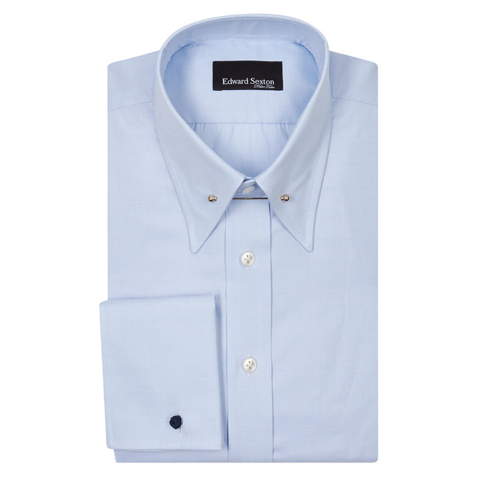 Textured Blue Cotton Pin Collar Shirt