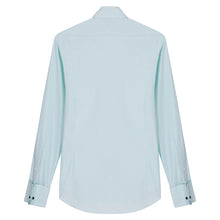 Load image into Gallery viewer, Turquoise Micro-check Cotton Pin Collar Shirt