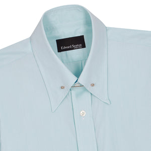 Turquoise Micro-check Cotton Pin Collar Shirt