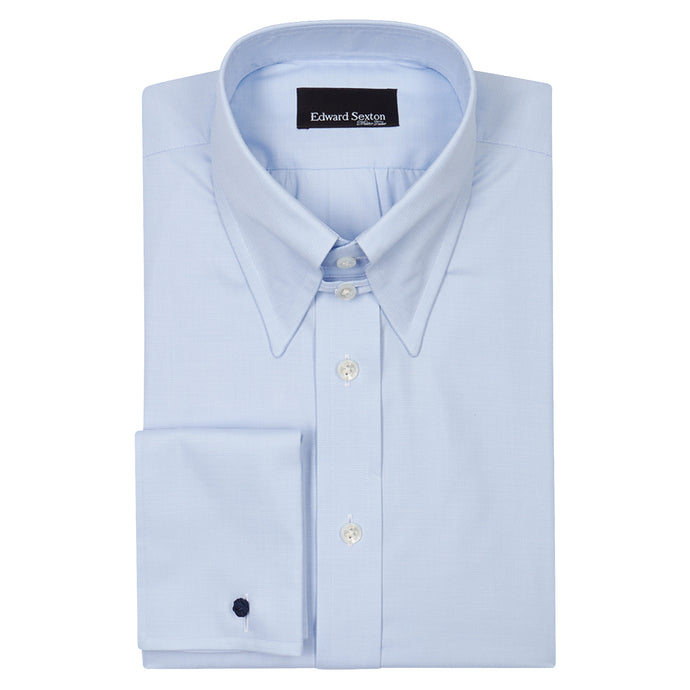 Textured Blue Cotton Tab Collar Shirt