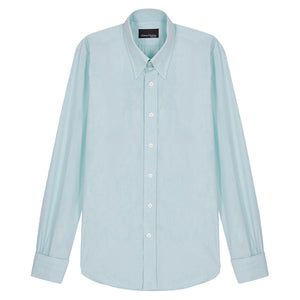 Turquoise Micro-check Cotton Tab Collar Shirt