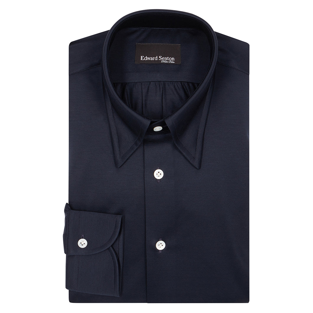Navy Cotton Jersey Hidden Button Down Shirt