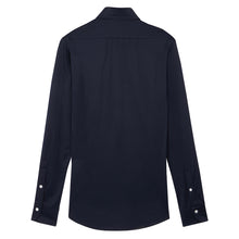 Load image into Gallery viewer, Navy Cotton Jersey Hidden Button Down Shirt