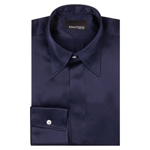 Load image into Gallery viewer, Navy Silk Shirt with Point Collar