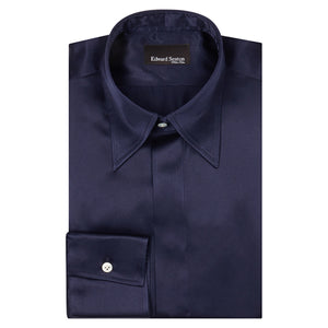 Navy Silk Shirt with Point Collar