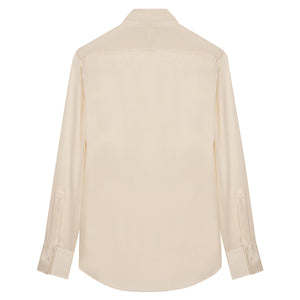 Cream Silk Shirt with Point Collar