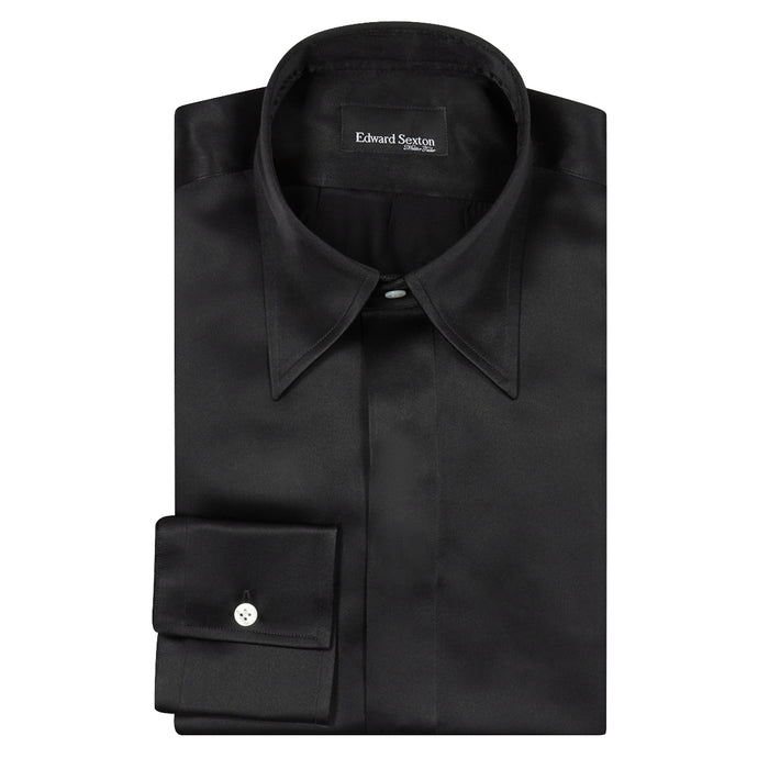 Black Silk Shirt with Point Collar