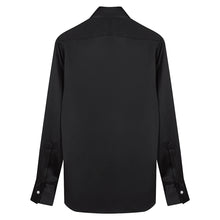 Load image into Gallery viewer, Black Silk Shirt with Point Collar