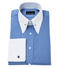 Load image into Gallery viewer, Blue-shirt-white-collar-and-cuff-pin-collar