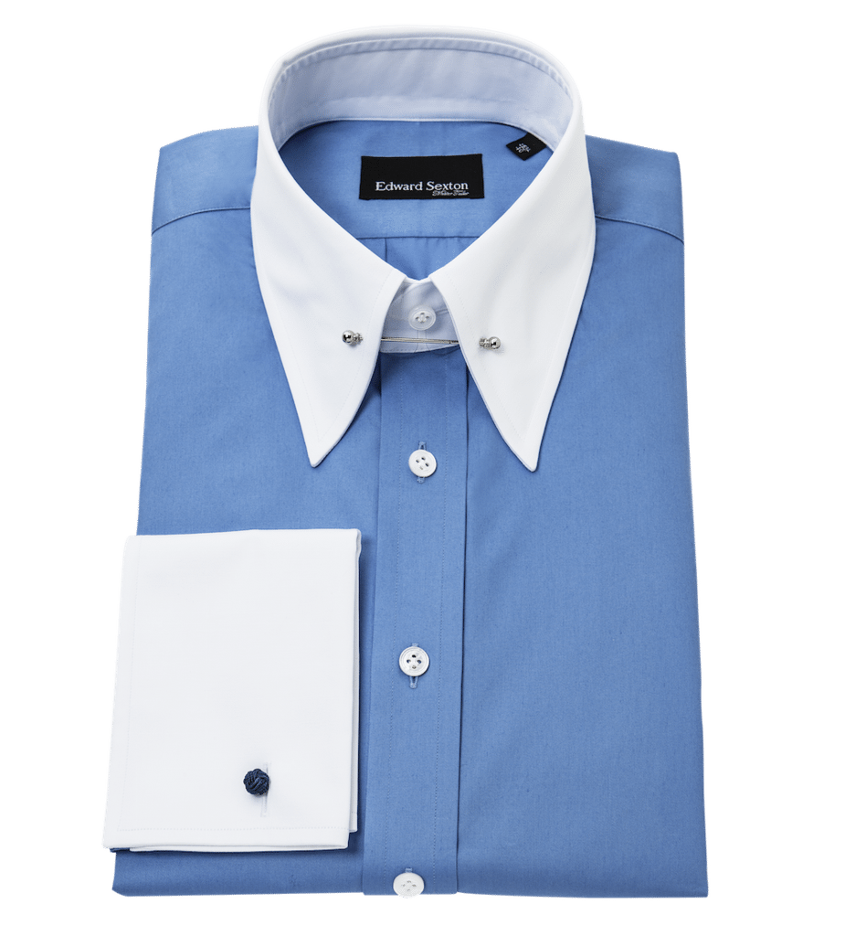 Blue-shirt-white-collar-and-cuff-pin-collar