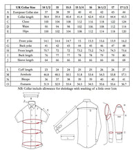 Load image into Gallery viewer, Edward Sexton shirt size chart
