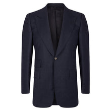 Load image into Gallery viewer, Navy Check Flannel Single-Breasted Blazer