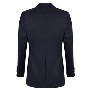 Navy Check Flannel Single-Breasted Blazer Suit