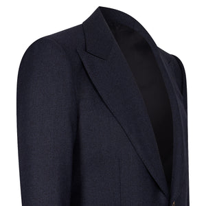 Navy Check Flannel Single-Breasted Blazer