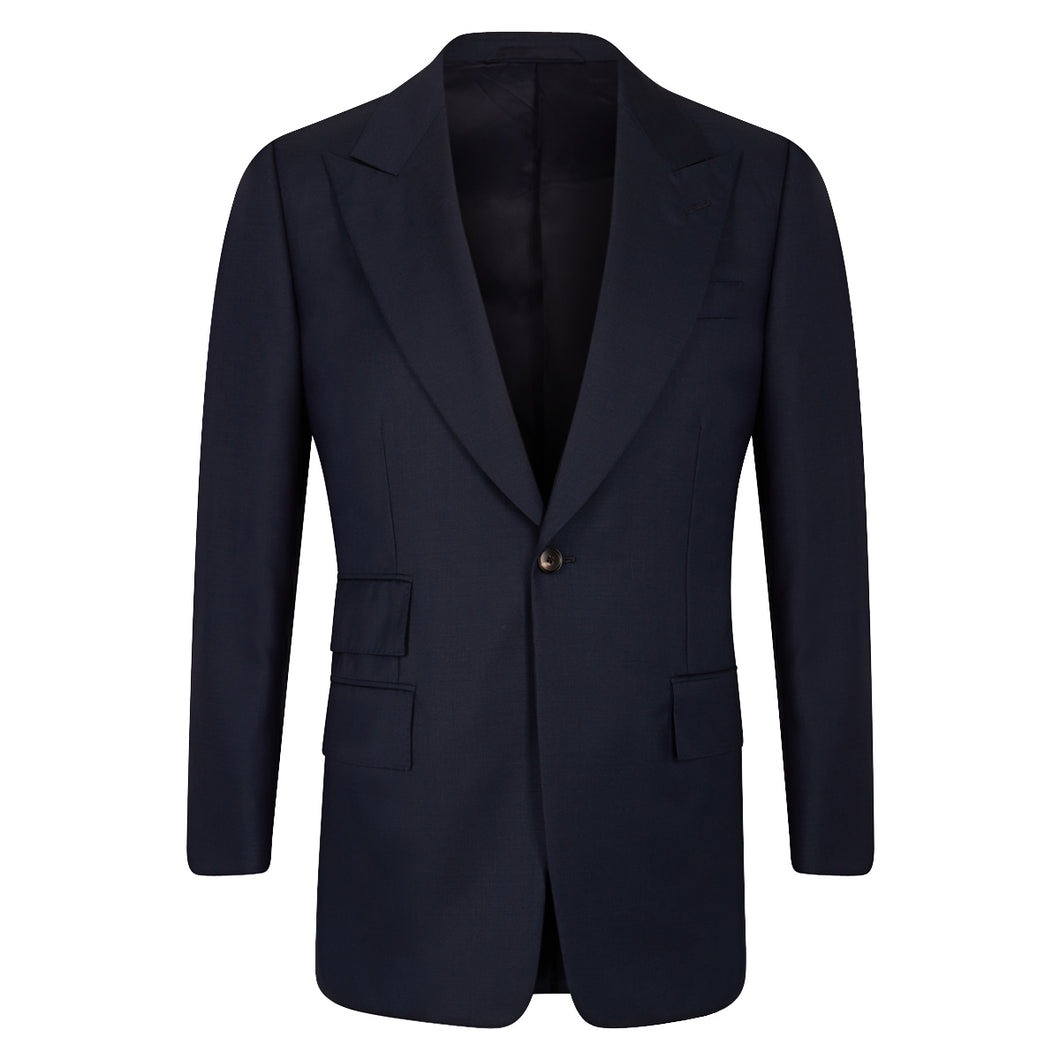 Navy Worsted Single Breasted Jacket