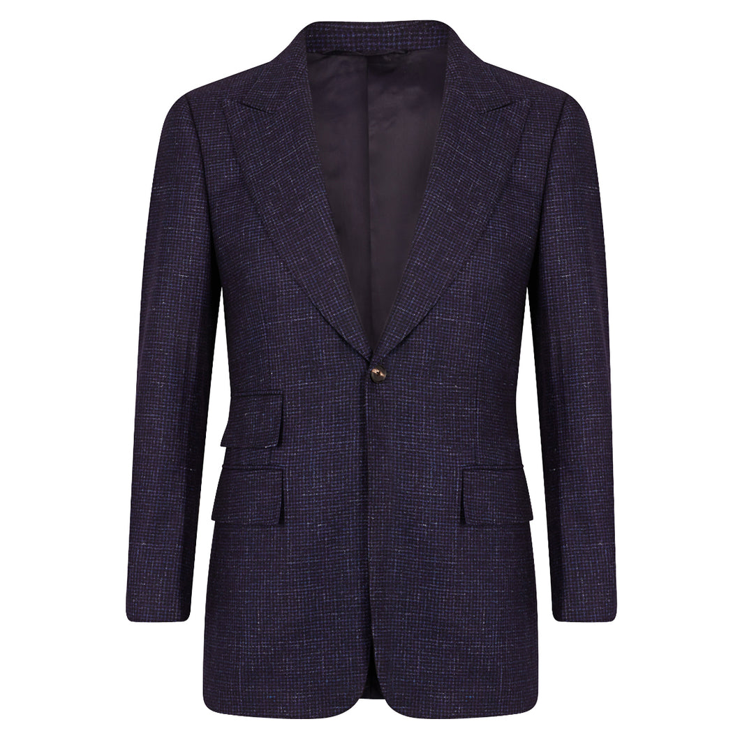 Blue Houndstooth Single Breasted Sports Jacket