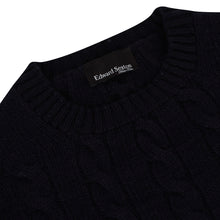 Load image into Gallery viewer, Dark Navy Cashmere Cableknit