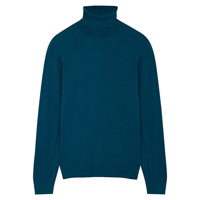 Petrol Blue Merino Roll Neck