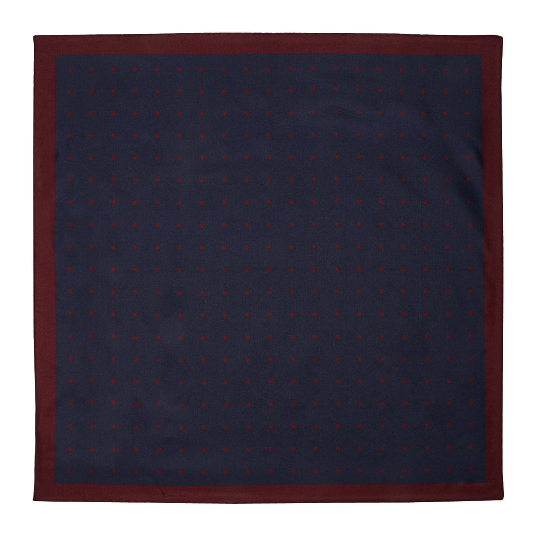 Navy with Red  Spots Hankie