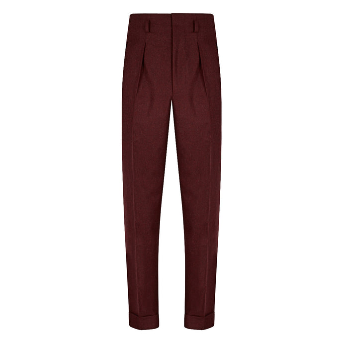 Burgundy Flannel Hollywood Trousers