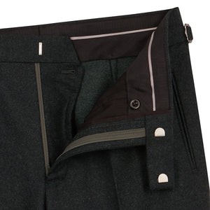 Olive Flannel Contemporary Trousers