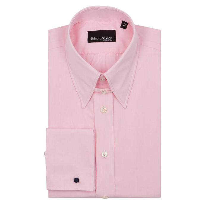 Pink Micro-check Cotton Tab Collar Shirt