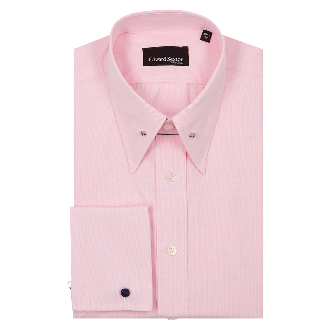 Pink Micro-check Cotton Pin Collar Shirt
