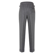 Load image into Gallery viewer, Grey Chalkstripe Flannel Trousers