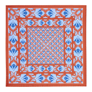 Copper and Blue Silk Hankie