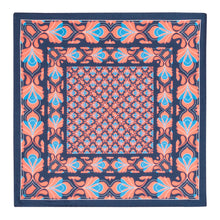Load image into Gallery viewer, Coral and Midnight Silk Hankie