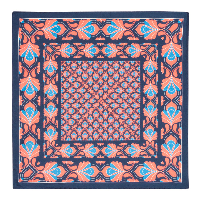 Coral and Midnight Silk Hankie