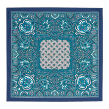 Load image into Gallery viewer, Teal, Navy and White Silk Paisley Hankie
