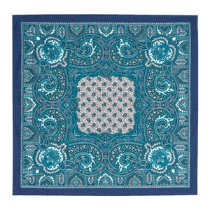 Teal, Navy and White Silk Paisley Hankie