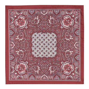 Burgundy and White Silk Paisley Hankie